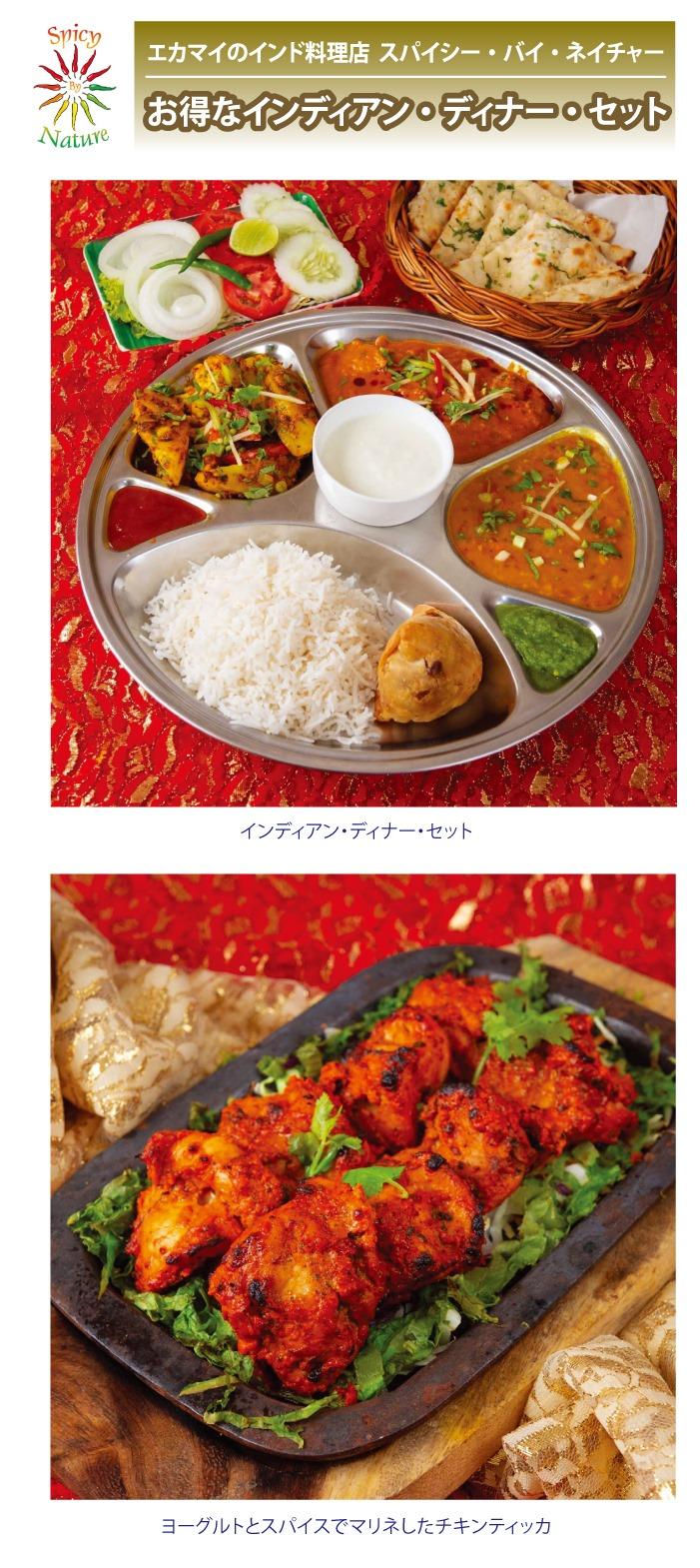 エカマイのインド料理店 スパイシー・バイ・ネイチャーのお得なインディアン・ディナー・セット