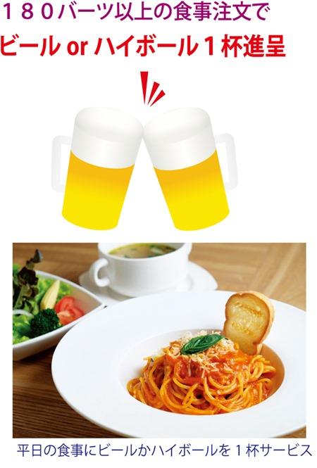 「春らんまんコミック&カフェ・バー」では180バーツ以上の食事注文でビールorハイボール1杯進呈