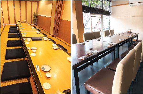 大小7つの個室があり、座敷席、テーブル席からお選び頂けます