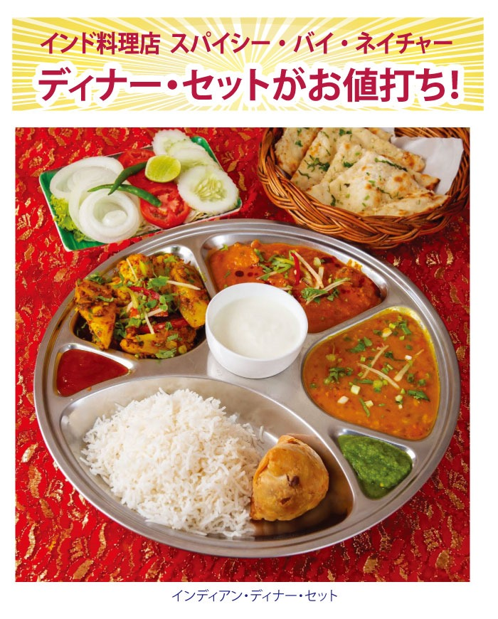 インド料理店 スパイシー・バイ・ネイチャーはディナー・セットがお値打ち!