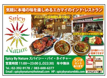 インド料理店「スパイシー・バイ・ネイチャー」の広告