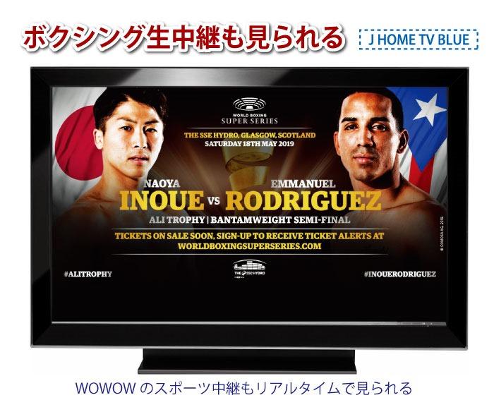 ボクシング生中継も見られる「JホームTVブルー」