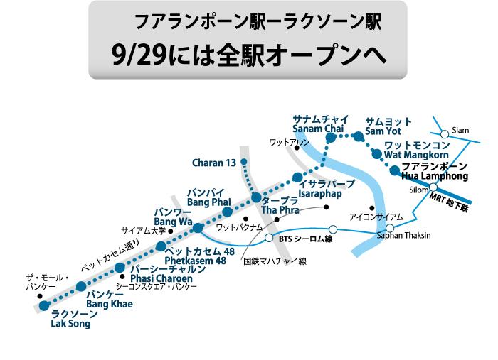 フアランポーン駅ーラクソーン駅、9/29には全駅オープンへ
