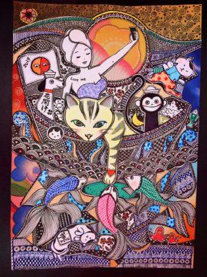 ボールペンで描かれた作品の一部