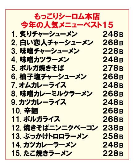 「もっこりシーロム本店」の今年の人気メニュー