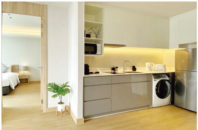 オークウッド・スイーツ・バンコクではキッチンも完備している