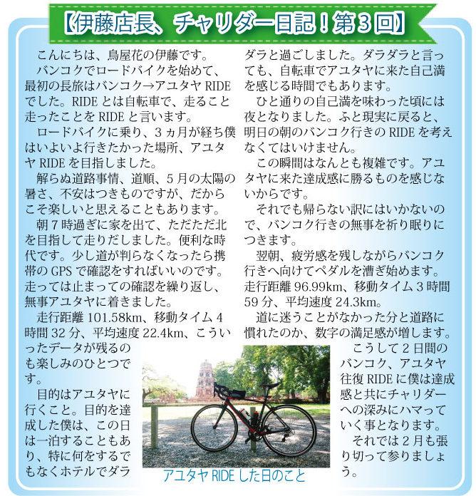 【伊藤店長、チャリダー日記!第3回】