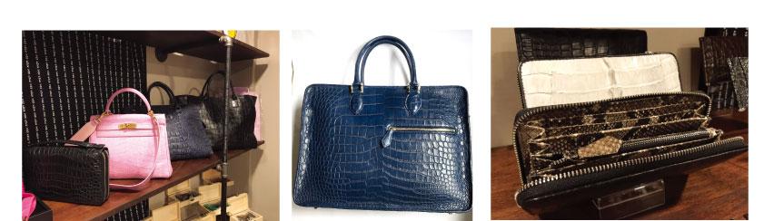 クロコダイルのバッグや財布もオーダー可能