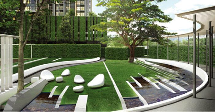 モダンな設計の屋外ガーデンエリア