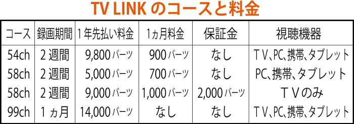 TV LINKのコースと料金