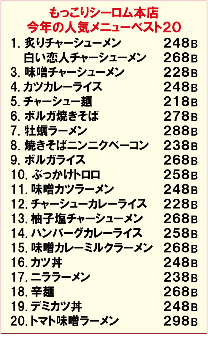 「もっこりシーロム本店」の人気メニュートップ20