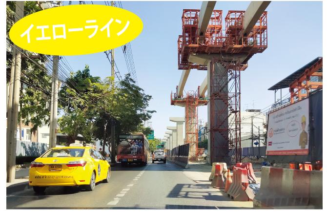 ラプラオ通りの現在の高架部分の工事。チョクチャイ4駅の近く