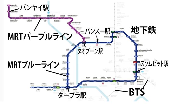 バンヤイ~アソークは45バーツ、MRT2路線の運賃が割引き