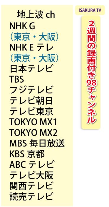 「ISAKURA TV」2週間の録画付き98チャンネル