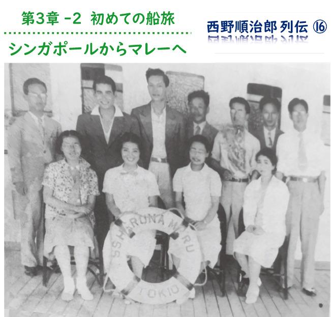 1937年7月、榛名丸にて初めてタイへ。後列左端が西野さん