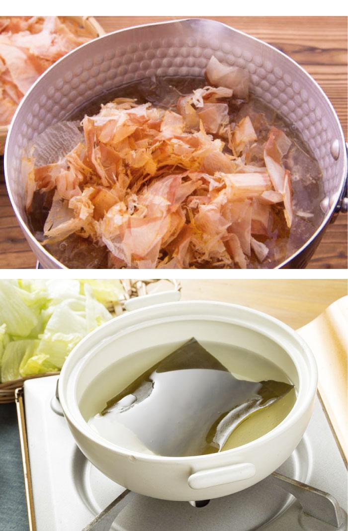 アルカリイオン水を使えば、かつお節や昆布のうま味成分が抜群