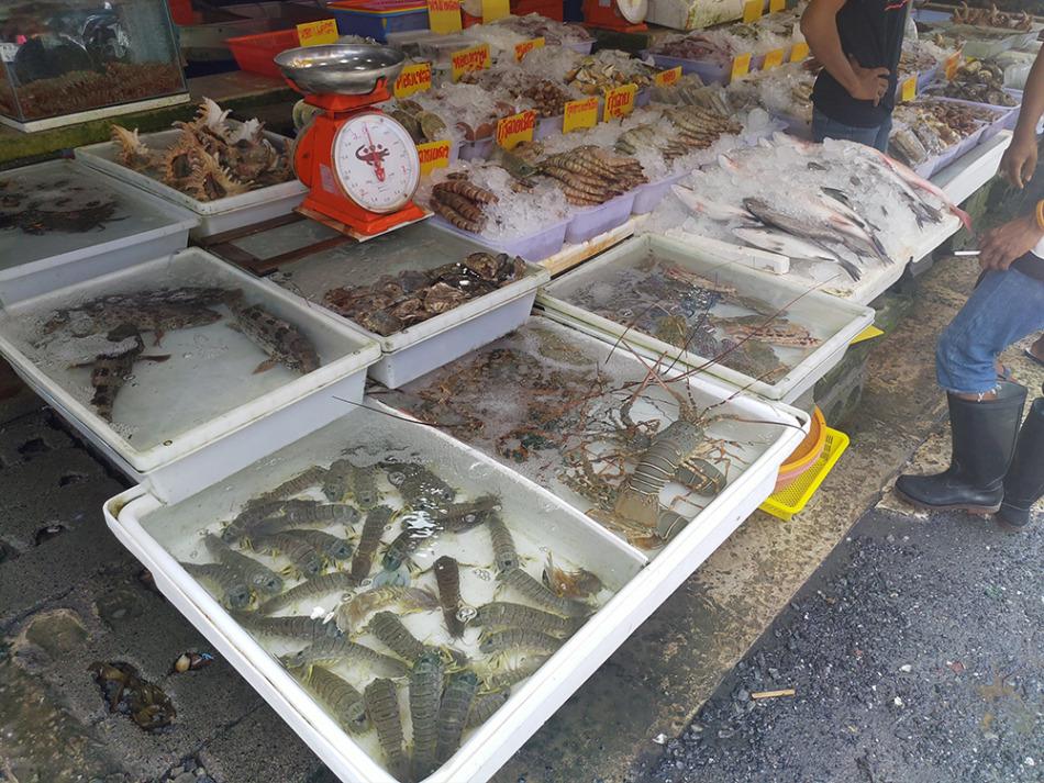 シャコやプーケットロブスターが並ぶ鮮魚店