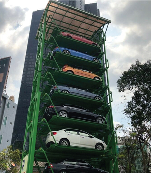 MRTサムヤーン駅のそばに設置された高架自動駐車場