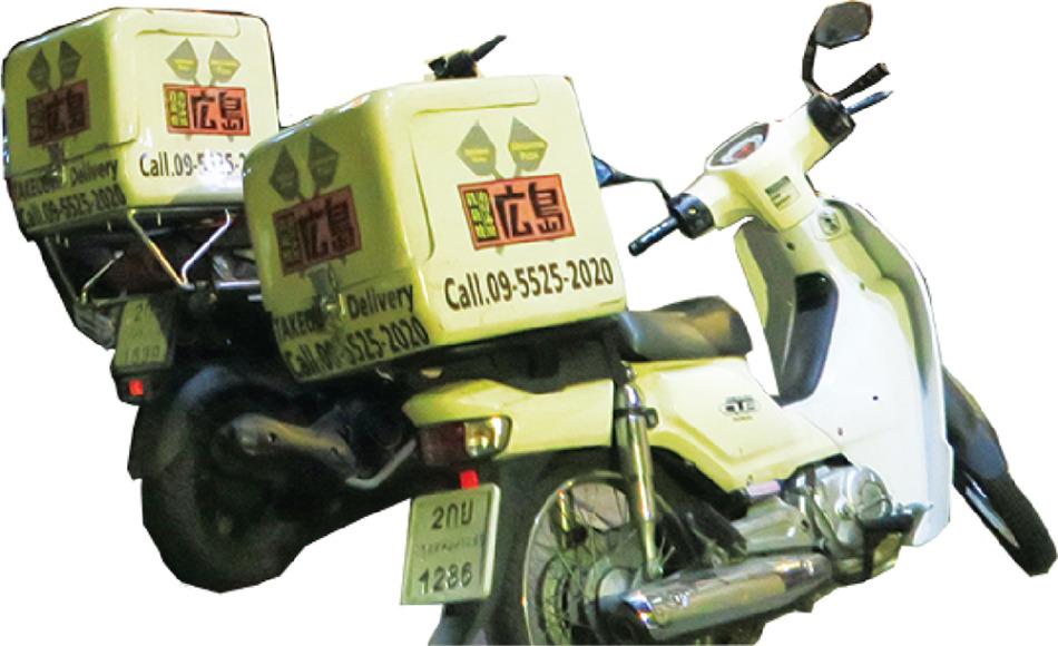 自社デリバリー用のオートバイ